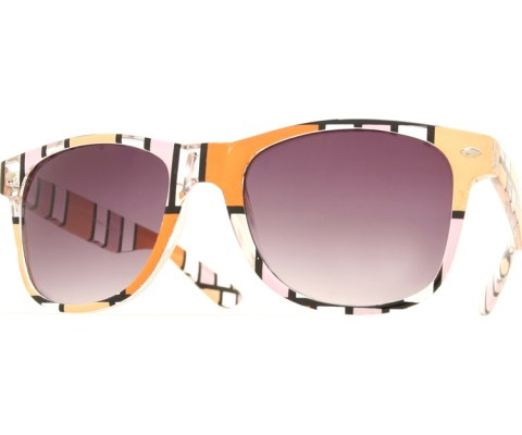 Color Block Art Cool Sunglasses - Orange/Smoke