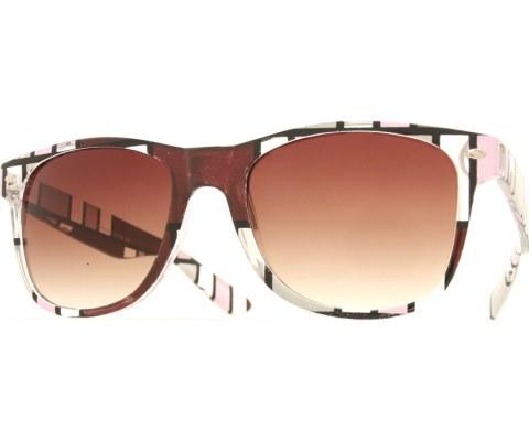 Color Block Art Cool Sunglasses - Brown/Brown