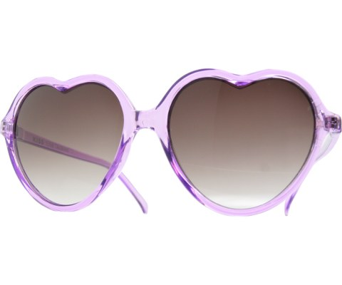 Clear Heart Sunglasses - Purple/Smoke