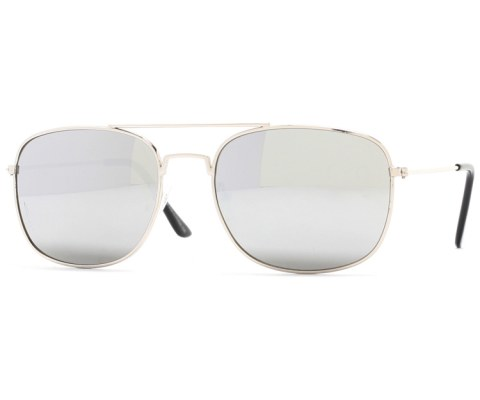 Metal Slick Sunglasses - Silver/Mirror