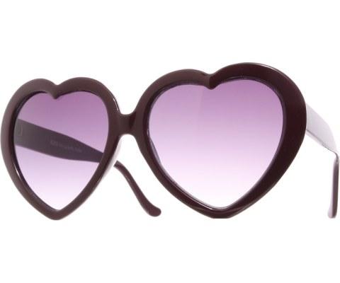Oversized Heart Sunglasses - Purple/Smoke