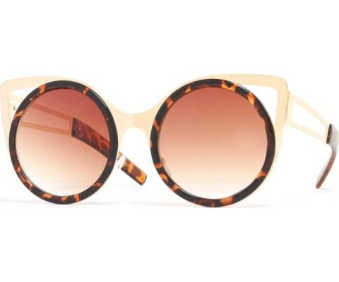 Round Metal Cateye Sunglasses - Tortoise/Brown