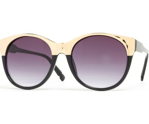 Round Metal Cateye Sunglasses - Black/Black