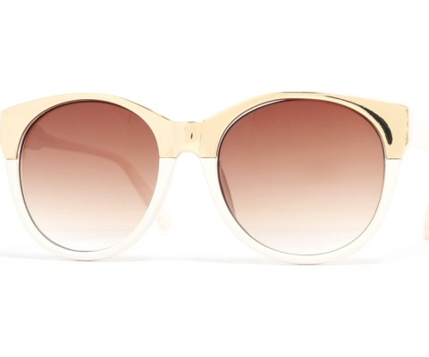 Round Metal Cateye Sunglasses - White/Brown