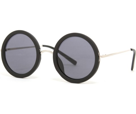 Round Hipster Silver Sunglasses - Black/Black