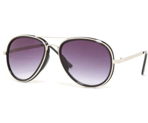High Clip Aviator Sunglasses - Black/Smoke