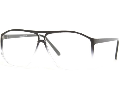 Corner Blocked Aviator Glasses - Black/Clear