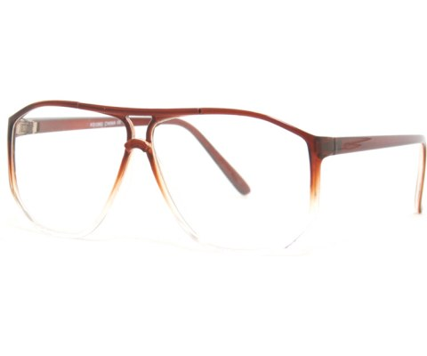 Corner Blocked Aviator Glasses - Brown/Clear