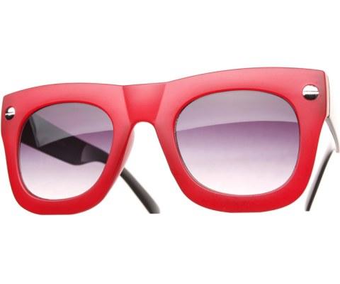 Oversized Side Screw Sunglasses - RedBlk/Black