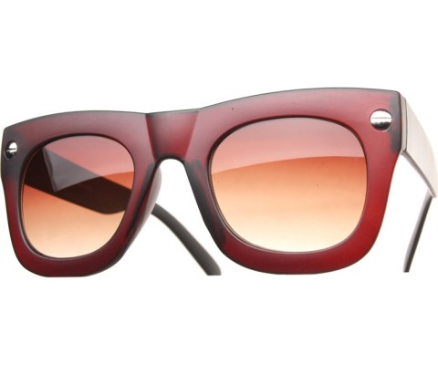 Oversized Side Screw Sunglasses - Brown/Brown