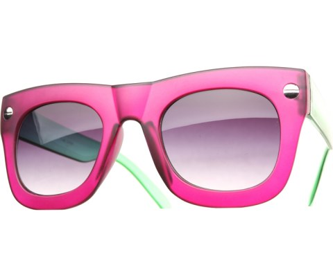 Oversized Side Screw Sunglasses - PurpGrn/Black