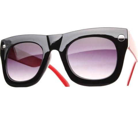 Oversized Side Screw Sunglasses - BlkRed/Black
