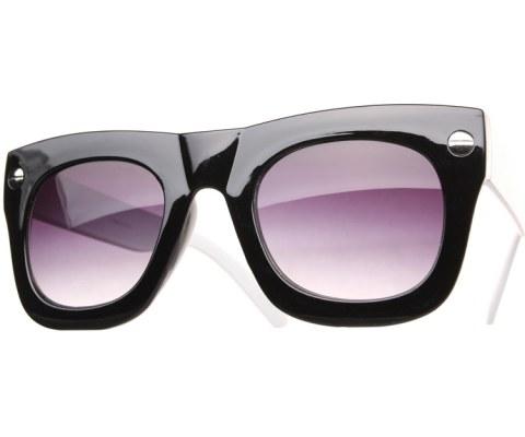 Oversized Side Screw Sunglasses - BlkWht/Black
