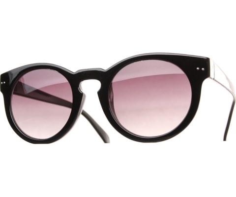 Round Key Hole Sunglasses - Black/Black