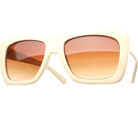 Color Block Sunglasses - OffWhite/Brown