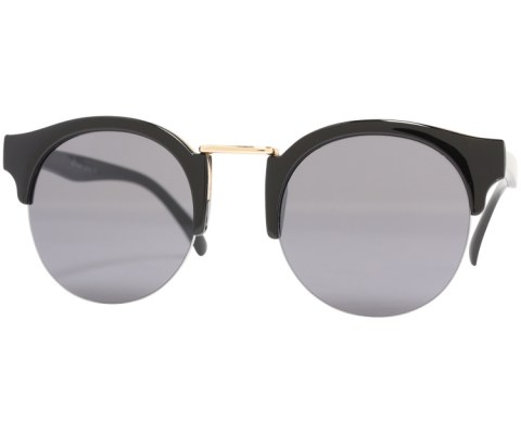 Round Gold Bridge Sunglasses - Black/Black