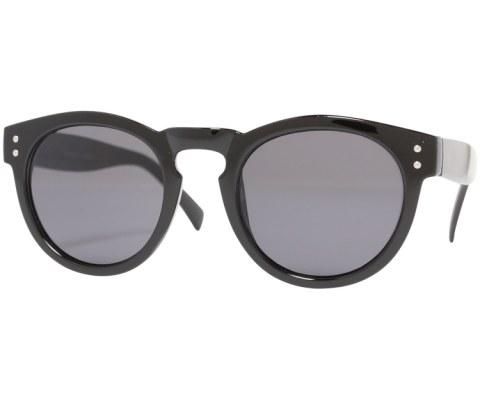Round Plastic Keyhole Sunglasses - Black/Black