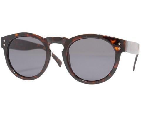 Round Plastic Keyhole Sunglasses - Tortoise/Black