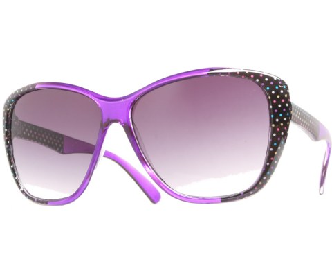 Side Polka Dot Sunglasses - Purple/Black