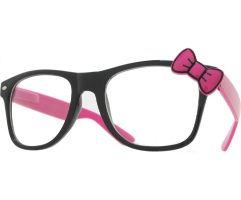 Hello Bow Colored Clear Glasses - Magenta/Clear