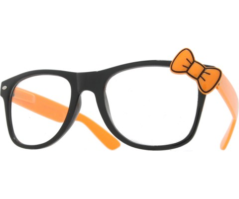 Hello Bow Colored Clear Glasses - Orange/Clear