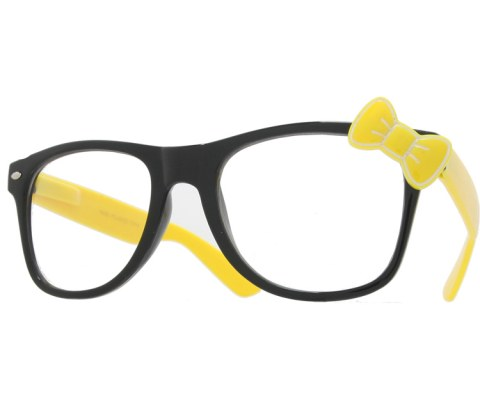 Hello Bow Colored Clear Glasses - Yellow/Clear
