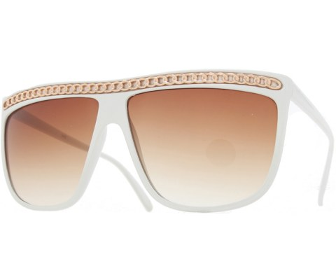Top Chain Sunglasses - White/Brown