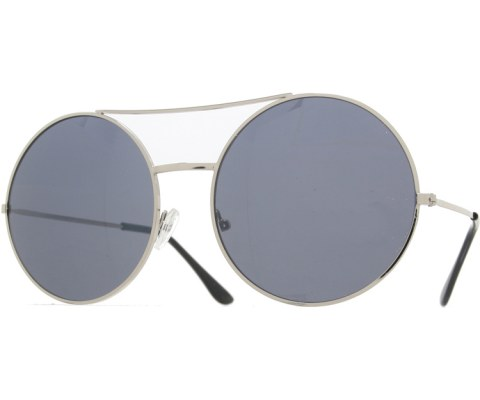 Super Round Metal Sunglasses - Silver/Black