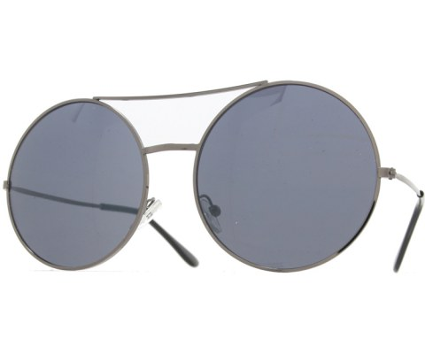 Super Round Metal Sunglasses - Pewter/Black