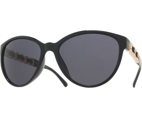 Side Gold Chain Sunglasses - Black/Black