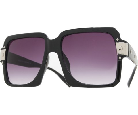 Oversized Squared Sunglasses - Black/Black