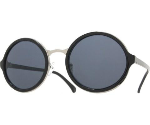 Round Layered Sunglasses - BlkSil/Black