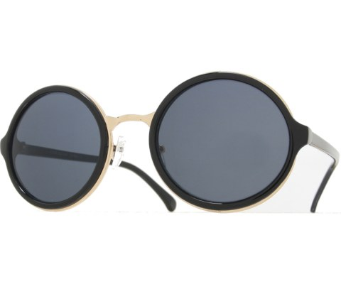 Round Layered Sunglasses - BlkGld/Black