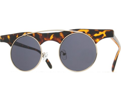 Wide Frame Round Sunglasses - Tortoise/Black