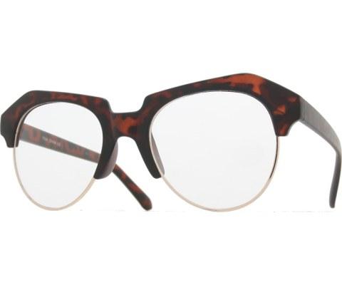 Raised Brow Glasses - MatteTort/Clear