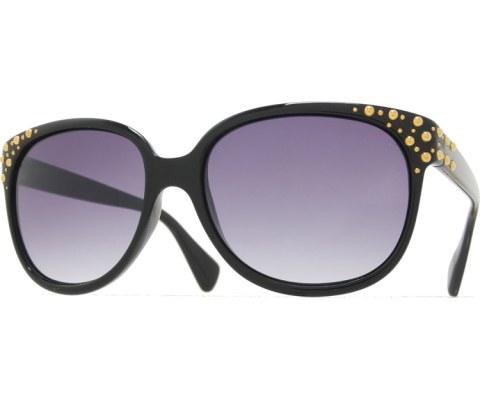 Gold Dots Sunglasses - Black/Smoke
