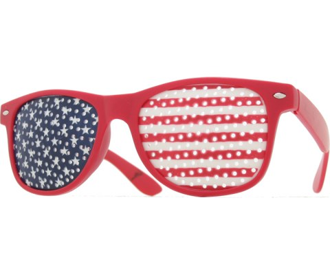 USA Pin Hole Glasses - Red/Flag