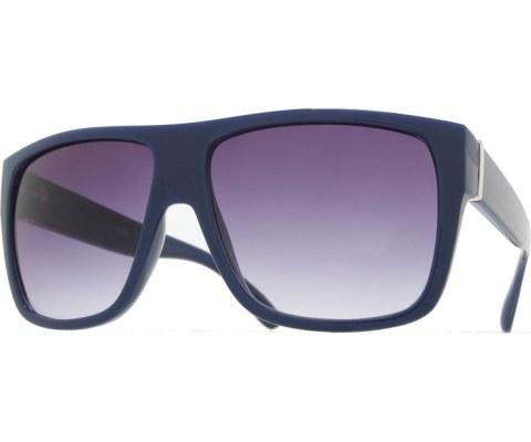 Side Metal Bar Sunglasses - Blue/Smoke