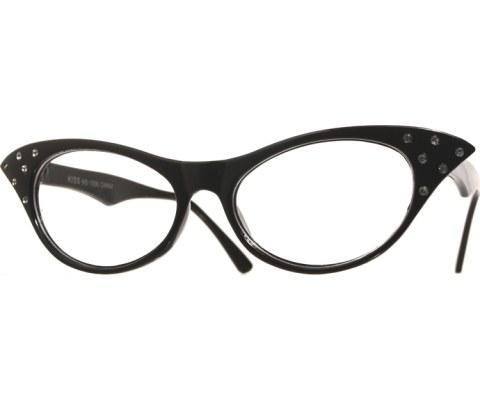 1950s Glasses - Black/Clear
