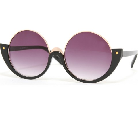 Half Round Frame Sunglasses - Black/Smoke