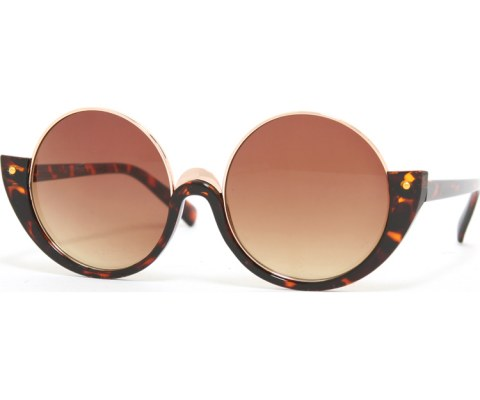Half Round Frame Sunglasses - Tortoise/Brown