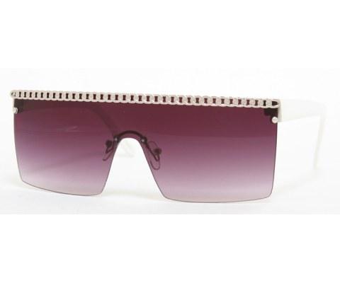 Gaga Chain Sunglasses - White/Smoke