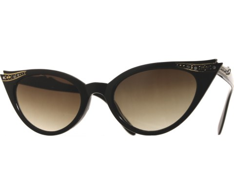 Vintage 50s Receptionist Sunglasses - Black/Smoke