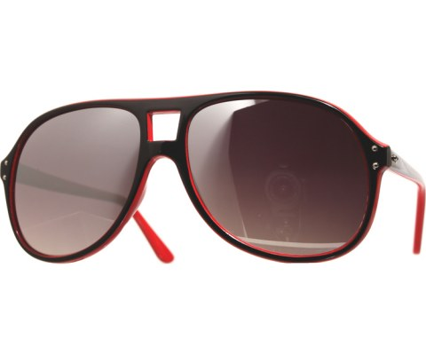 Mirrored Two Tone Aviators - RedBlk/Mirror