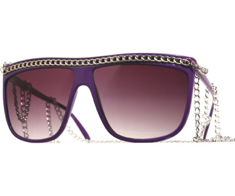Gaga Full 12in Chain Sunglasses - Purple/Smoke