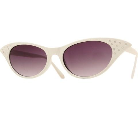 1950s Glasses - White/Smoke