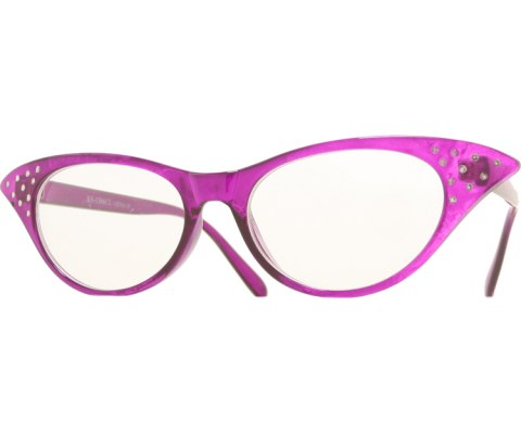 1950s Glasses - Purple/Clear