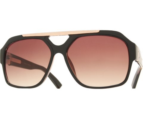 Gold Square Sunglasses - BlkGld/Smoke