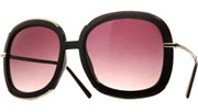 Rounded Metal Trim Sunglasses - Black/Smoke