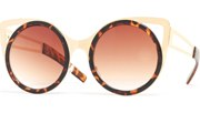Round Metal Cateye Sunglasses - Tortoise/Brown